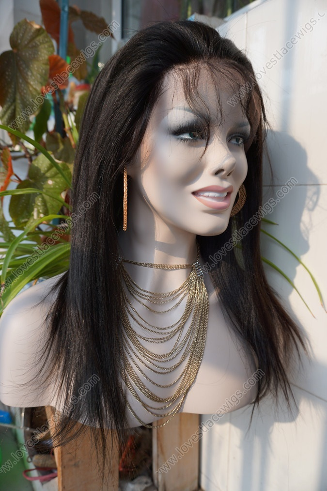 Coarse yaki straight Chinese virgin hair lace front wig natural color 130% density