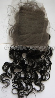 100% Indian remy hair curly jet black top closure