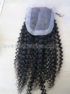 Chinese virgin hair Kinky curl top closure