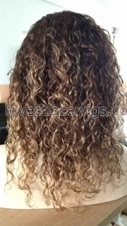 Indian remy hair #1b 4 27 ombre color human hair three tone full lace wigs Can Be Straightened