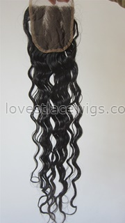 Best selling curly Chinese virign hair top closure