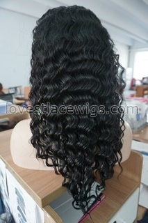 "Beautiful Deep Body Wave 100% Indian Remy Human Hair 8""-24"" 1# Jet Black Lace Front Wig For Women"