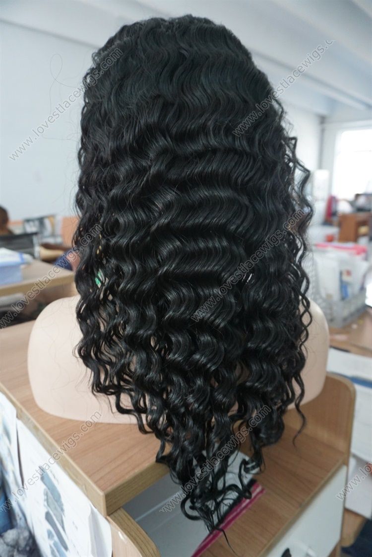 """Beautiful Deep Body Wave 100% Indian Remy Human Hair 8""""-24"""" 1# Jet Black Lace Front Wig For Women"""
