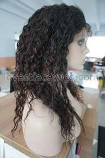 "Remy Full Lace Wigs , Curly 16"" off Black #2 Indian Human LONG hair lace wig"