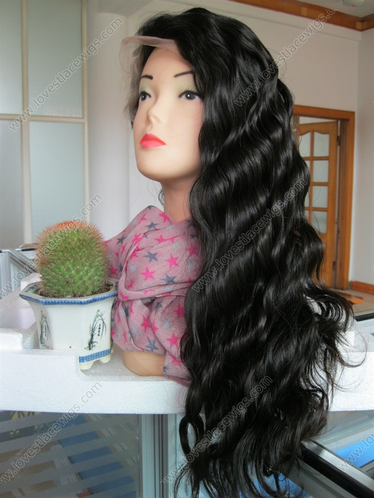 Best selling 150% heavy density chinese virgin hair natural color body wave full lace wig for lady