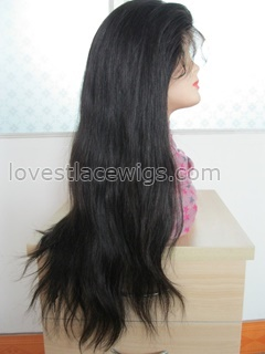 20 inch 100% chinese virgin hair natural color natural straight full lace wig in stock