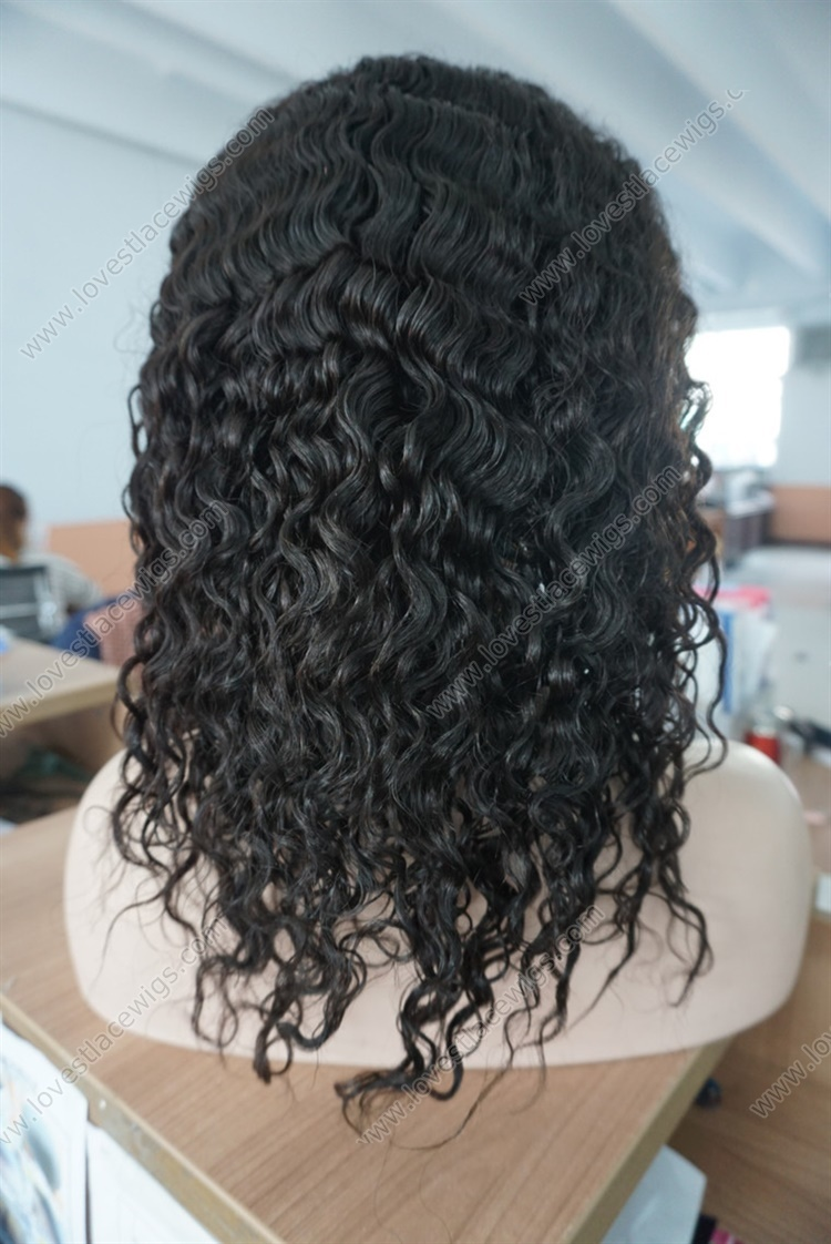 """100% Indian Remy Human Hair Front Lace Wig Curly 8""""-24"""" 1B# Lace Front Wigs For Black Women"""
