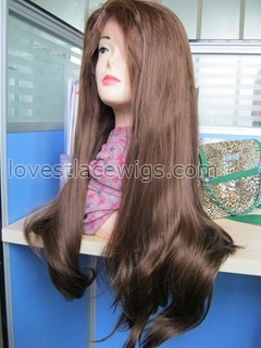 special sall synthetic hair natural straight long lace front wig mixed color