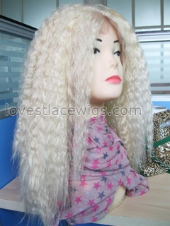 Light color kinky straight synthetic medium long hair lace front wig