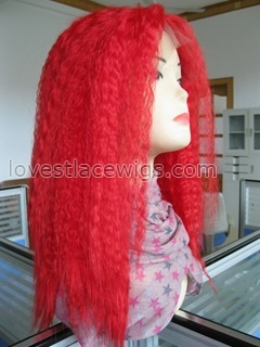 Hight quality Fire red kinky straight synthetic Lace front wig