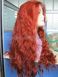 New arrival fashion red loose wave synthetic lace front wig wholesale
