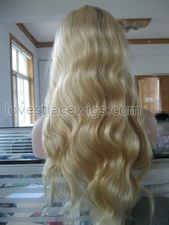 Silk based blonde T color glueless lace wigs