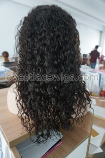 100% Human Hair Full lace Wig Indian remy hair Lace wigs Natural Curly Off black 8''-24'' In Stock Ship Immediately