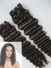 Indian remy hair deep wave black hair extension