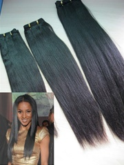 Coarse yaki straight Malaysian virgin hair machine made hair weft