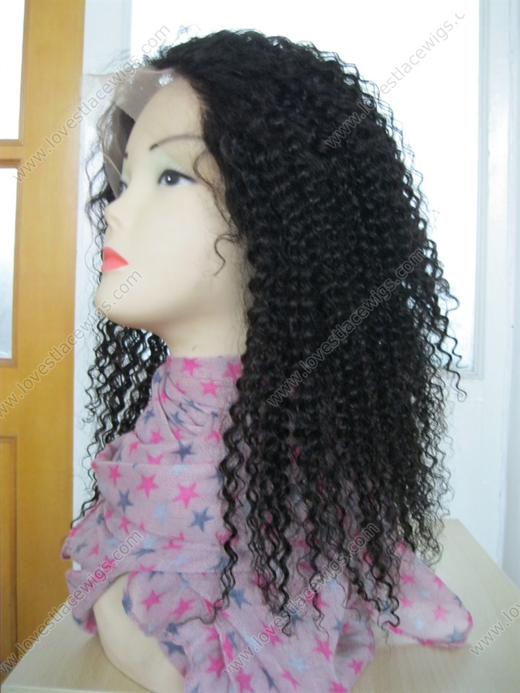 Kinky curl Indian remy hair full lace wig for African American