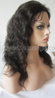Custom body wave indian remy hair full lace wigs with silk top