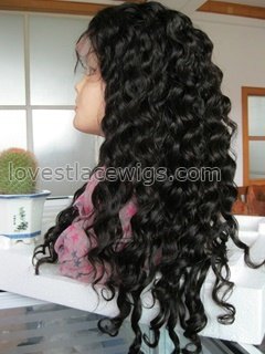 Best selling Deep wave Chinese virgin hair heavy density full lace wigs