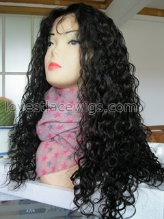 Fashion curly long full lace 100% indian remy hair full lace wigs in stock