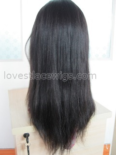 HOT sale 100% indian remy hair Yaki black medium full lace wig for lady