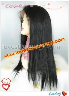 wholesale 18 inch 100% indian remy hair natural straight long black full lace wig