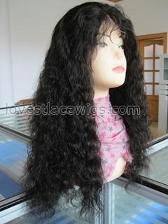 Regular wave Indian remy hair off black full lace wigs in stock