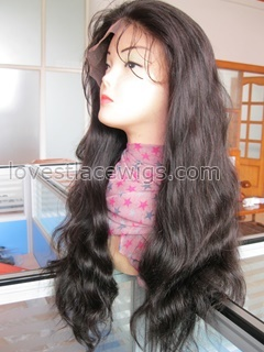 Natural color natural straight full lace Chinese virgin hair wig in stock