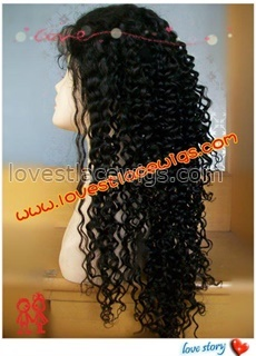20 inch 100% indian remy hair darkest brown super curl full lace wig in stock
