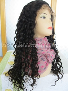 wholesale 100% indian remy hair curly 22 inch darkest brown full lace wig in stock
