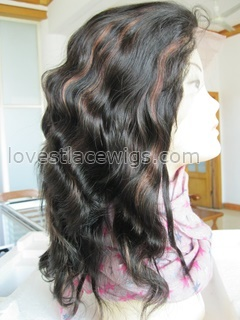 Indian remy hair body wave 1b 30 highlighted Human hair full lace wigs with baby hair all around for lady