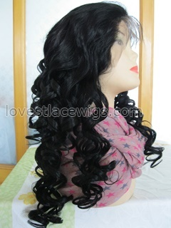 Hot sale 20 inch jet black 100% indian hair loose curl full lace wig for lady