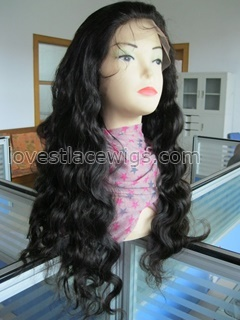 Long Chinese virgin hair body wave full lace wig