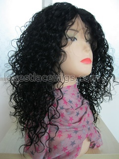 16 inch jet black 100% indian hair curly full lace wig wholesale