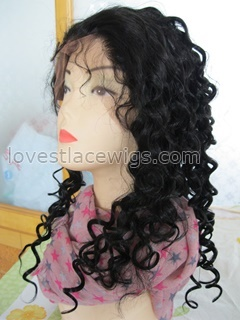 wholesale 100% indian hair jet black 16 inch deep wave lace front wig for lady