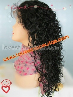 100% indian remy hair special curl 18 inch lace front wig in stock