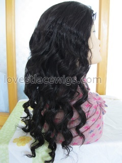 Hot sale 18 inch 100% indian remy hair body curl lace front wig in stock (FLF-022)