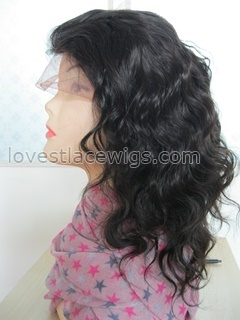 wholesale 100% indian remy hair 12 inch #1b body wave medium black lace front wig for LADY