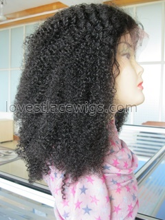 wholesale 100% human hair off black 16 inch kinky curl lace front wig for lady