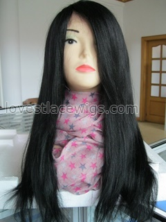 Yaki straight indian remy hair no shedding no tangling lace front wigs with bangs
