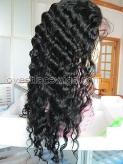 Cheap indian remy hair deep wave lace front wigs