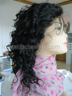 #1 color curly indian remy lace front wig in stock