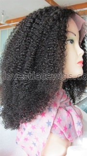 Most popular Afros kinky curl indian remy hair lace front wig for black woman
