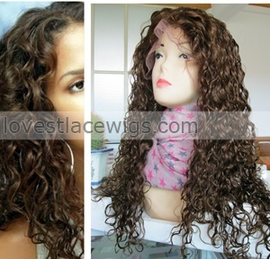 fashion very beautiful curly 100% indian remy hair lace front wig in stock