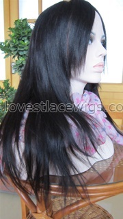 Yaki straight 100% Indian remy hair lace front wig with bangs