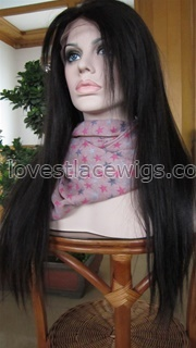 Yaki straight 100% indian remy hair lace front wigs with bangs in stock
