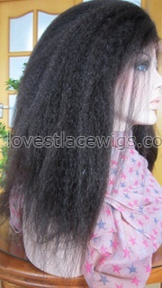 Kinky straight 100% indian remy hair lace front wig for black woman in stock