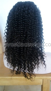 Kinky curl indian remy hair lace front wigs for black woman wholesale