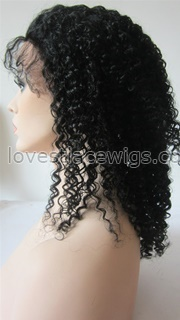 Hot sale Kinky curl indian remy hair lace front wigs for black woman