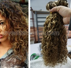 Wholesale Soft Curly Human Hair Weft Brazilian Hair Weave Remy Extension 27/10/4 Blonde Highlight Factory Outlet