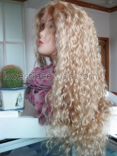 Long Honey blonde curly lace front wig